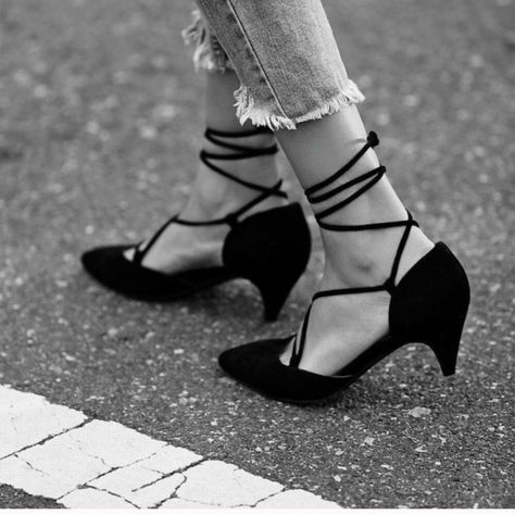 Jeffrey Campbell + Free People Womens Andra Kitten Heel Ankle strap lace up heels with a pointed toe and a kitten heel.