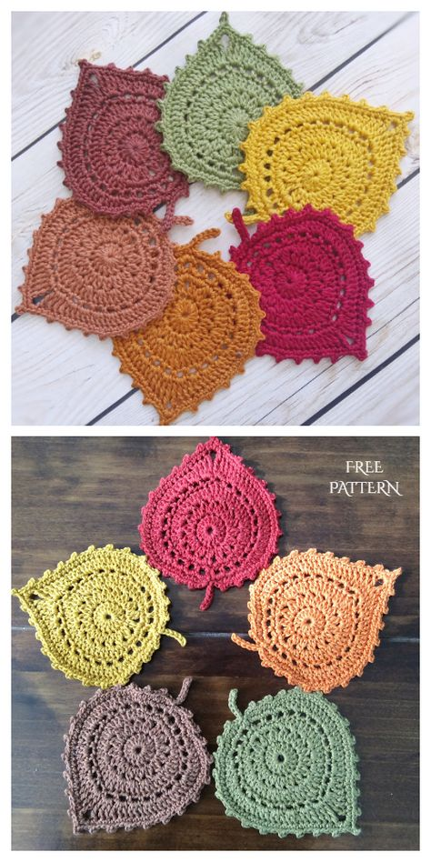 Crochet Leaf Free Pattern, Crochet Coaster Pattern, Crochet Bikini Pattern, Crochet Leaves, Crochet Flowers, Crochet Patterns, Swimsuit Pattern, Crochet Shorts, Crochet Fall Coasters