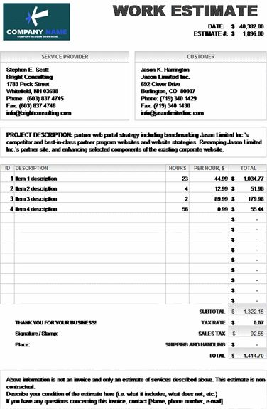 Microsoft Excel Work Estimate Invoice Calculates Total  Ideas For