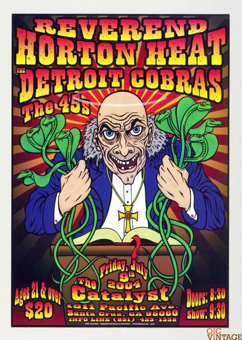 Reverend Horton Heat Detroit Cobras Poster 2004 Jul 9 The Catalyst Santa Cruz