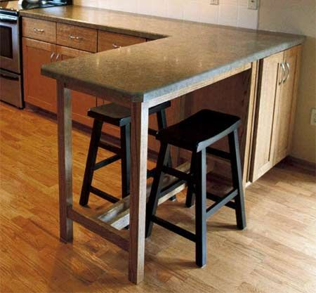 Home Dzine Build A Countertop Extension Diy Countertops Breakfast Bar Table Kitchen Remodel Small