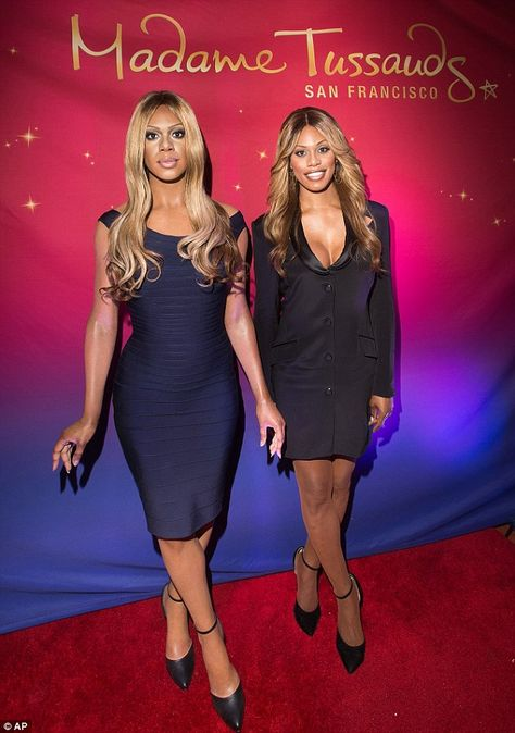Laverne Cox (right) got a wax figure at the San Francisco Madame Tussauds museum on Friday
