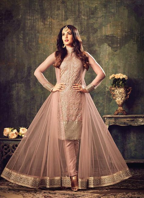 Hot Pink and Black Pant Style Anarkali   Indian outfits