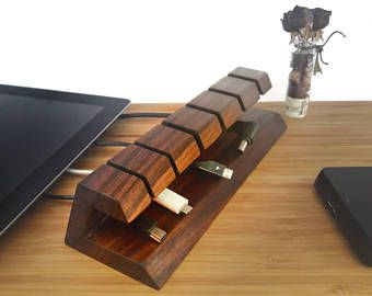 Wooden Cable And Charger Organizer Cable Management For Power Cords And Charging Cables 机 暮らし