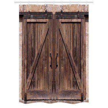 Rustic Stall Shower Curtain Wooden Barn Door In Stone Farmhouse Image Vintage Desgin Rural Art Ar Wooden Barn Doors Rustic Shower Curtains Bathroom Decor Sets