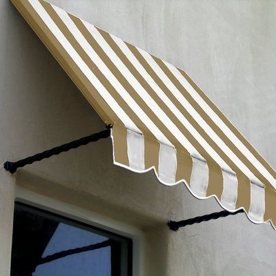 Awntech Santa Fe Twisted Rope Arm Window Awning Colour Linen White Size 31 H X 100 5 W X 24 D In 2020 Window Awnings Metal Awning Window Design