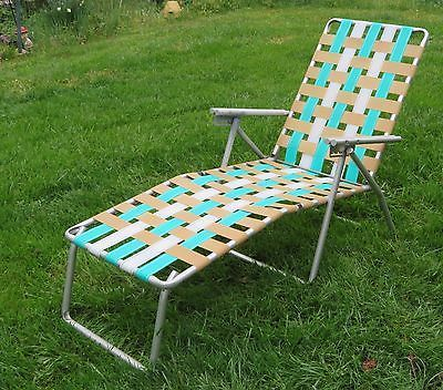 Vintage Folding Lounge Lawn Chair Aluminum Webbing Patio Webbed Mid Century Lounge Chair Outdoor Folding Lounge Chair Lawn Chairs