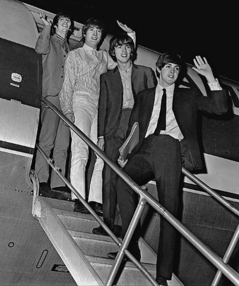 The Beatles wave goodbye at Boston's Hanscom Field for a short flight to the next tour stop in Baltimore, Maryland.August 18, 1966 Photo: Kevin Cole