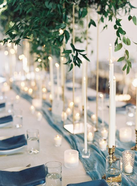 Something Blue: Wedding Decor and Bridal Look Inspiration - blue runner wedding table