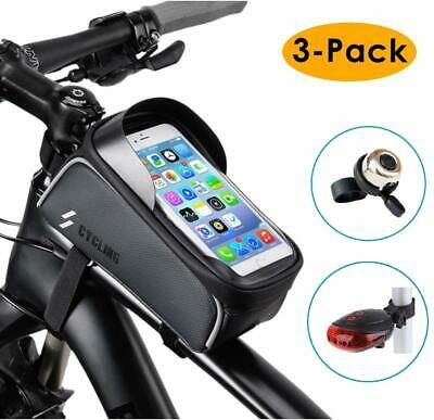 Sponsored Ebay 3 Pack Bike Frame Bag Tail Light Bicycle Bell Set Waterproof Mountain Road Cycl Bike Frame Bag Bike Frame Frame Bag