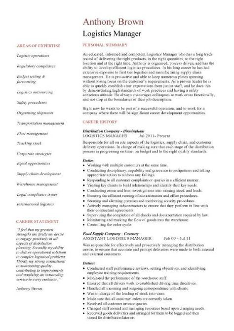 senior logistic management resume Logistics Manager Resume - logistics manager resume sample
