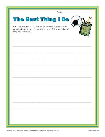 The Best Thing I Do Creative Writing Prompt For 4th And 5th Grade Persuasive Writing Prompts Writing Lessons Persuasive Writing 4th grade writing prompts worksheets