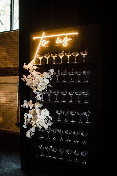 Glamorous Champagne Display with Flowers and Lighted Sign, Fabulous wedding bar idea. Wedding Flowers, Lace Wedding, Wedding Rings, Wedding Dresses, Bhldn Wedding, Spring Wedding, Wedding Bride, White Flower Arrangements, Marriage Reception