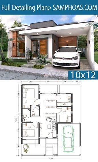 3 Bedrooms Home Design Plan 10x12m Bungalow House Plans House Construction Plan Small House Design Plans