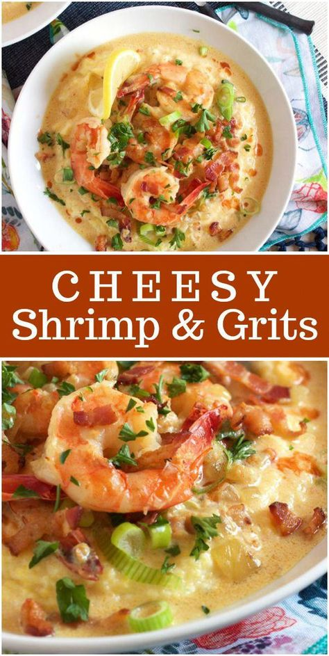A classic Southern dish you can make at home in minutes, Cheesy Shrimp and Grits is a creamy, comforting bowl of happy. Cheesy grits are to. Cheesy Grits, Shrimp N Grits, Southern Shrimp And Grits, Charleston Shrimp And Grits Recipe, Shrimp Dishes, Shrimp Meals, Shrimp Appetizers, Shrimp Pasta, Fish Recipes