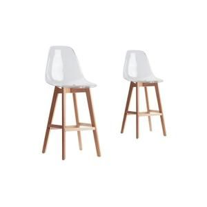 Lot de 2 tabourets de bar LUIGI avec coque transparente