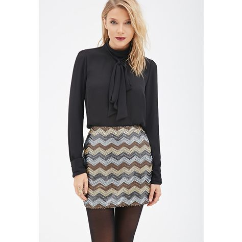 c4162aafb4 Love 21 Women's Contemporary Sequined Chevron Bodycon Skirt ($16) ❤ liked  on Polyvore featuring skirts, mini skirts, evening skirts, full length  skirts, ...