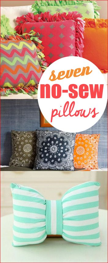 7 No-Sew Pillows. Fun projects that will spice up your house with a few tips and tricks. Add color and style to your home with these simple pillo\u2026