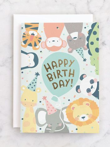 Sending Adorable Birthday Wishes From The Entire Zoo The Cutest Kids Birthday Cards All Part Greeting Card Design Birthday Card Design Kids Birthday Cards