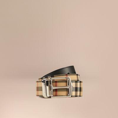 Reversible Horseferry Check And Leather Belt, Black   Burberry Men ... e5d9d014b4d
