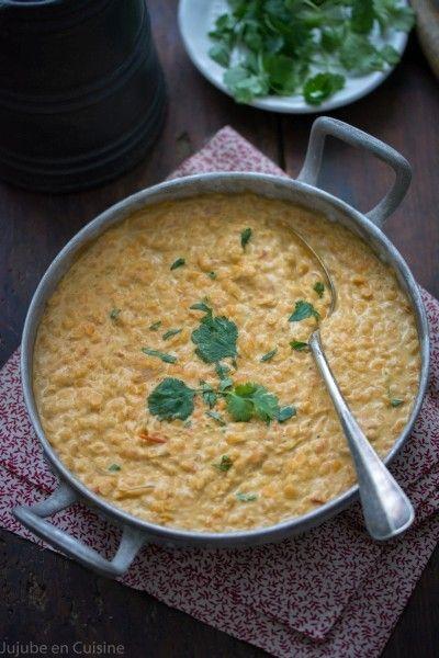 Dal (dahl) de lentilles corail, coco, curry   Jujube en cuisine