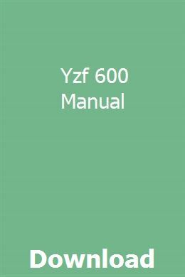 Yzf 600 Manual Pdf Download Full Online With Images Repair