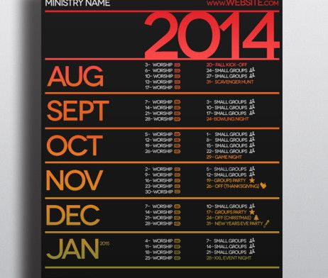 church calendar template