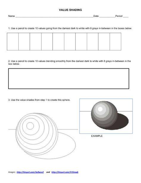 value shading worksheet