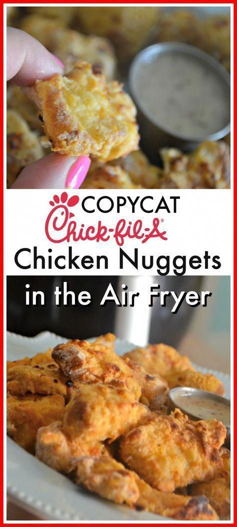 Make delicious nuggets that taste similar to Chick-fil-A at home, thanks to the air fryer! Air Fryer Copycat Chick-fil-A Chicken Nuggets - air fryer recipes kids Air Fryer Recipes Potatoes, Air Fryer Oven Recipes, Air Frier Recipes, Air Fryer Dinner Recipes, Air Fryer Recipes Chicken Tenders, Chick Fil A Chicken Tenders Recipe, Power Air Fryer Recipes, Chick Fil A Nuggets Copycat Recipe, Chickfila Chicken Nuggets Recipe