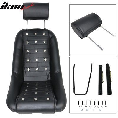 For Classic Car Mid Sized Bucket Seat With Sliders Black Pu Faux