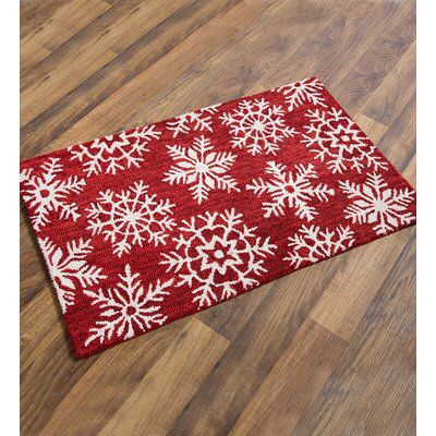 Snowflake Wool Red White Area Rug Christmas Rugs Indoor Holiday Decor Hooked Wool