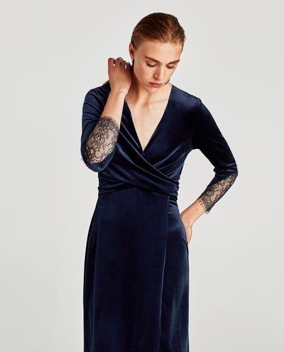 Zara Dan 2 Kadife Capraz Elbise Resmi Elbise Kadife Zara