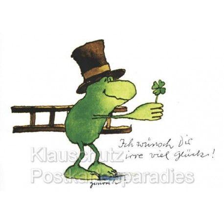 Janosch Postkarte Mit Schornsteinfeger Frosch Und Glucksklee