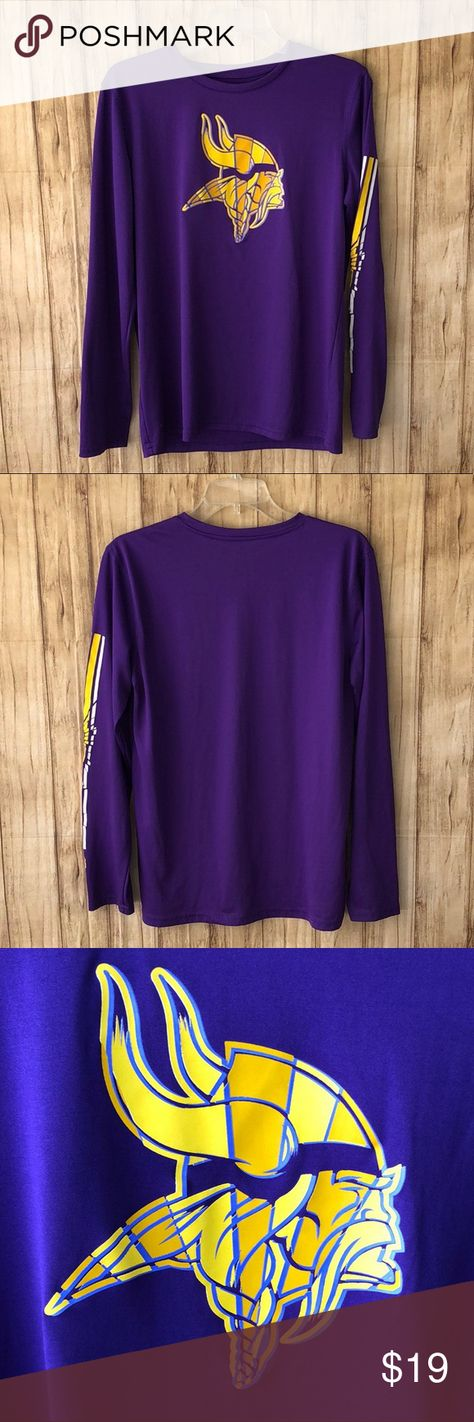 """Women's NFL Vikings Dri Tec Athletic Top Size L Good used condition women's NFL Vikings Dri Tec athletic top. Size Large. Graphics in good condition. No visible flaws Fabric-100% Polyester Bust-18.5""""across lying flat Length-26""""top of shoulder to hem Sleeves-24"""" Smoke free environment NFL Tops"""