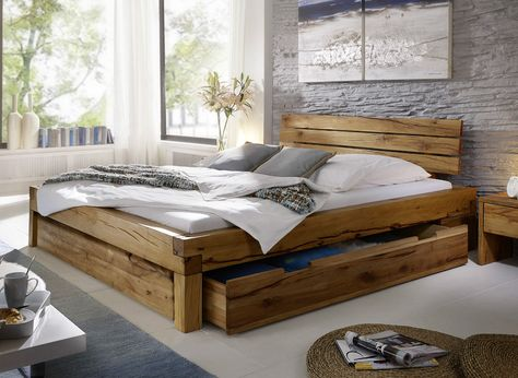 Balkenbett Bett Doppelbett 180x200cm Wildeiche Eiche Holz Massiv