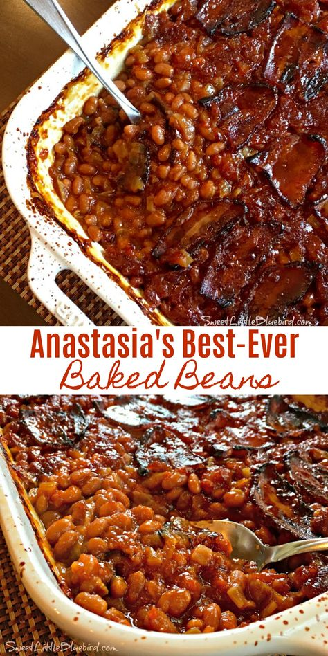 Today I am sharing my family's go-to baked beans recipe that has been in the family for decades - Anastasia's Best-Ever Baked Beans! These are a must-have at family barbecues! Simple to make, so darn Side Dishes For Ribs, Burger Side Dishes, Dinner Side Dishes, Potluck Dishes, Best Side Dishes, Vegetable Side Dishes, Barbecue Sides, Barbecue Side Dishes, Grill Barbecue