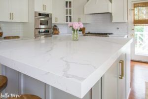 Msi Calacatta Laza Quartz Mitered Edge Bella Tucker Replacing Kitchen Countertops Kitchen Remodel Outdoor Kitchen Countertops