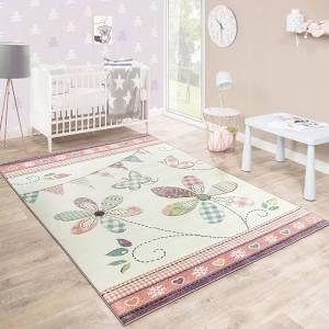 Kinderteppich Madchenteppich Verspielt Blumig Pastell Farben Rosa Weiss Creme Teppich Kinderzimmer Gemusterte Teppiche Teppich Rosa