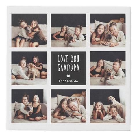 Love You Grandpa   Photo Collage Handwritten Text Faux Canvas Print