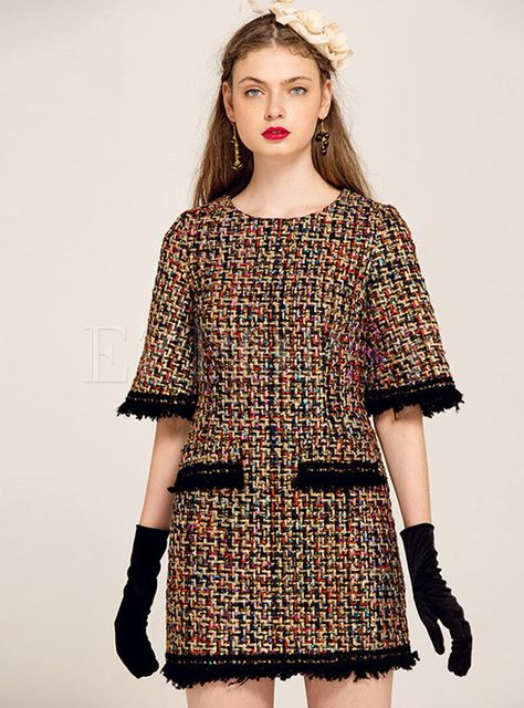 YIGELILA Brand 61268 Latest New Women Fashion Tweed Dress With Pocket Tassel Half Sleeve Straight ** Visit the image link more details.