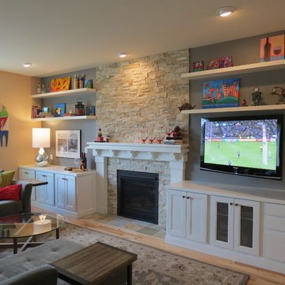 i like this combination of open shelves and cabinet doors fireplace pinterest open shelves fireplaces and tvs