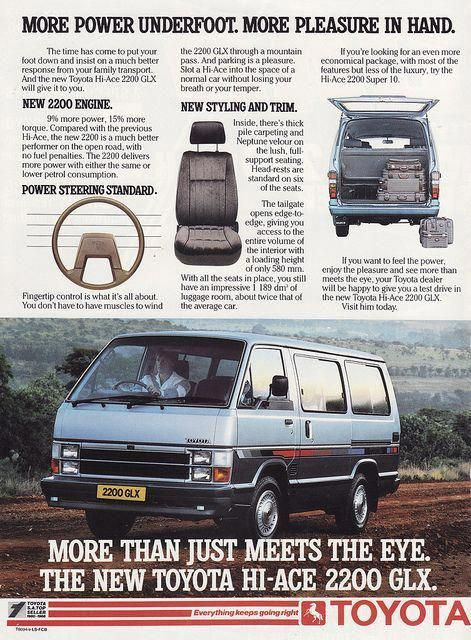 1987 Toyota Hiace 2200 Wagon Ad South Africa Covers The Flickr Toyotaclassiccars Toyota Hiace Toyota Classic Cars