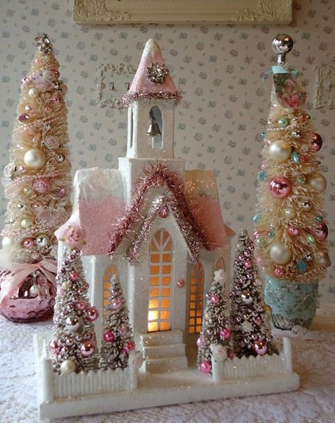 LIGHTED Shabby Christmas Cathedral - Bottle Brush Trees w Pink Ornaments - LARGE. $42.00, via Etsy.  via Sherry Williams