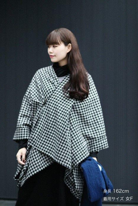 kisaragi poncho dobby knit worsted wool black white women collection poncho bell sleeve top