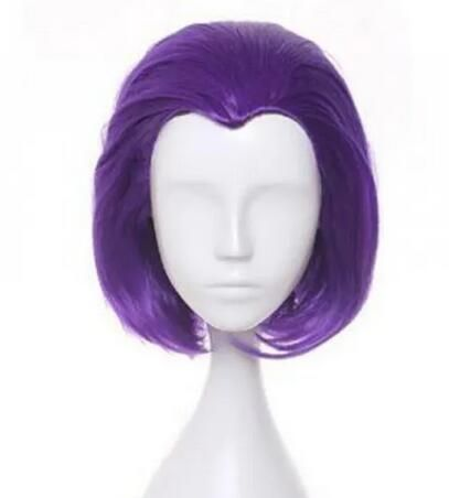 Teen Titans Raven Cosplay Anime Wig Purple short Medium Straight Synthetic wig