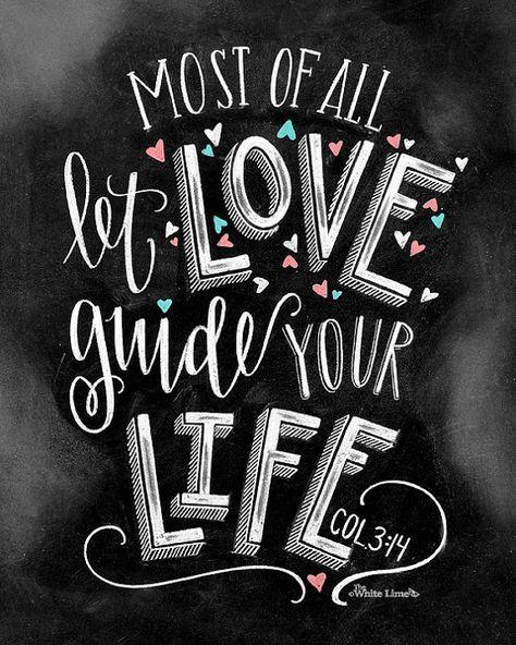 Love Sign Chalk Art Chalkboard Art Bible Verse Art by TheWhiteLime