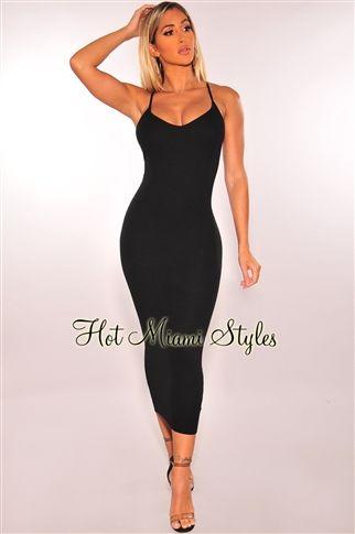 Black Ribbed Knit Lace Up Back Midi Dress  e132c5a42