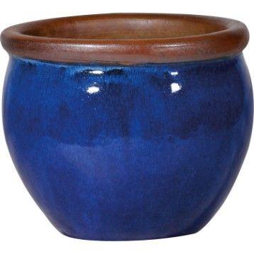 Pot Terre Cuite Emaillee Deroma Diam 20 X H 21 Cm Bleu Pot En Terre Cuite Terre Cuite Pots