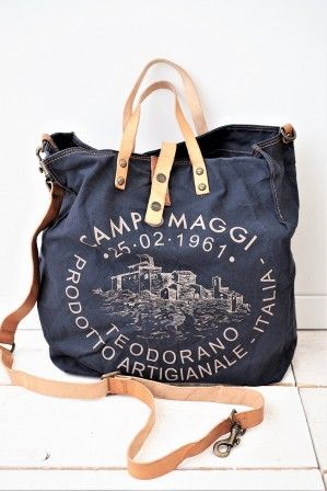 Campomaggi Canvas Laukku L, NAVY | Canvas bag, Bags, Fabric bags