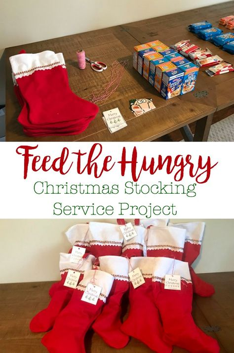 5 Little Monsters: Feed the Hungry Christmas Stocking Service Project A feed the hungry service project where we filled Christmas stockings to give to people who may be able to use it. Homeless Bags, Homeless Care Package, Christmas Service, Christmas Fun, Holiday Fun, White Christmas, Christmas Wreaths, Christmas Activities, Christmas Traditions